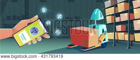 Smart Technologies In Warehouse With Smartphone App For Control Robot. Vector Cartoon Illustration O