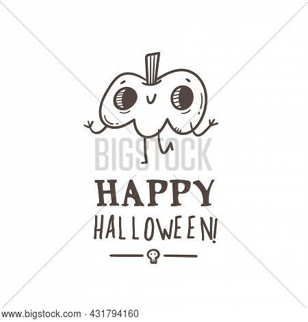 Halloween Card With Cute Cartoon Pumpkins. Holiday Poster With Spooky Characters. Vector Contour Doo
