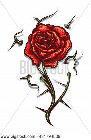 Tattoo Of Red Rose Flower With Thorns Isolated On White