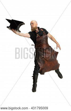 One Muscular Bearded Bald Man, Blacksmith Wearing Leather Apron Or Uniform Isolated On White Studio