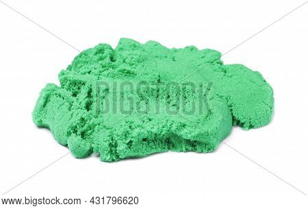 Pile Of Green Kinetic Sand On White Background