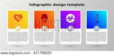 Set Healed Broken Heart, Sore Throat, Heart Rate And Microscope. Business Infographic Template. Vect