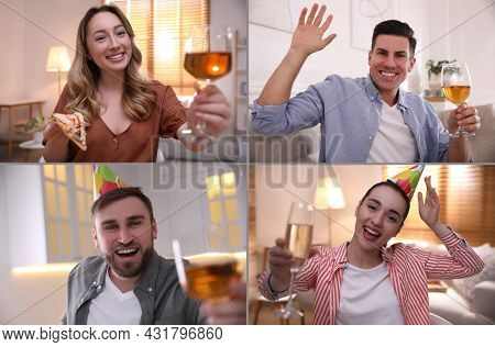 People With Glassses Of Wine Having Online Party At Home During Quarantine Lockdown, View From Web C