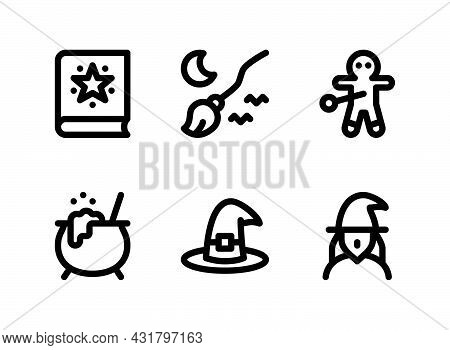 Simple Set Of Halloween Related Vector Line Icons. Contains Icons As Spell Book, Broom, Voodoo And M