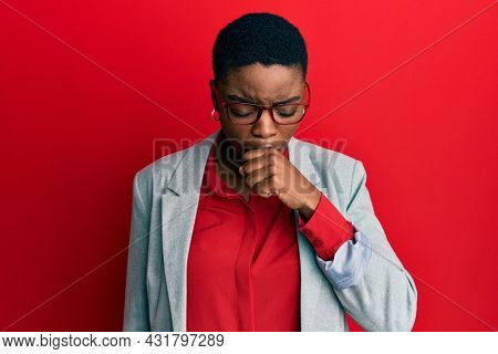 Young african american woman wearing business jacket and glasses feeling unwell and coughing as symptom for cold or bronchitis. health care concept.