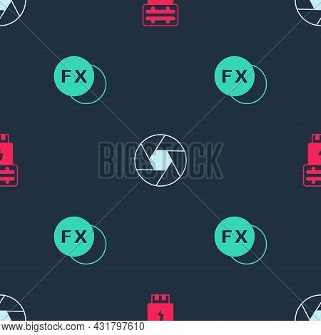 Set Photo Camera Flash, Camera Shutter And Fx On Seamless Pattern. Vector