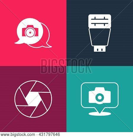 Set Pop Art Photo Camera, Camera Shutter, Flash And Icon. Vector