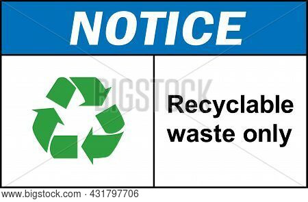 Recyclable Waste Only Notice Sign. Recycle Signs And Symbols.