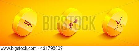 Set Isometric Curling Iron, Hairdresser Pistol Spray Bottle And Scissors Hairdresser Icon. Vector
