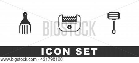 Set Barrette, Electrical Hair Clipper And Shaving Razor Icon. Vector