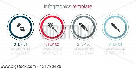 Set Fountain Pen Nib, Unknown Search, Pencil With Eraser And Marker. Business Infographic Template.