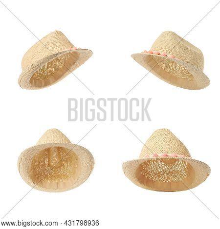 Set With Stylish Straw Hats On White Background. Stylish Headdress