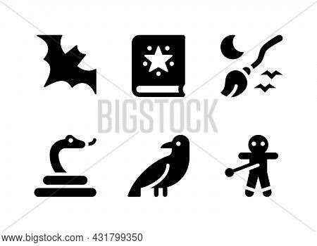 Simple Set Of Real Estate Related Vector Solid Icons. Contains Icons As Spell Book, Broom, Voodoo An