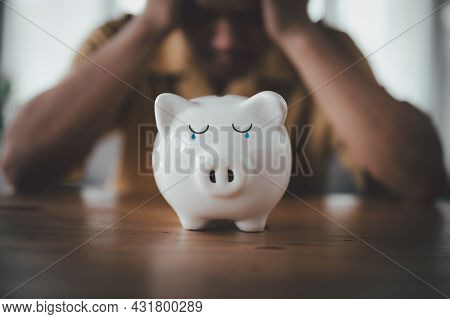 Stressed Financial Problems, Problem Business Person Man, No Savings, Not To Payment Bill, Loan Or E
