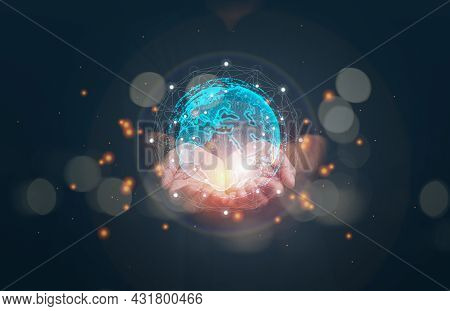 Businessman Holding Global Network Connection. Big Data Analytics And Business Intelligence Concept.