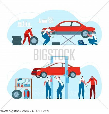 Car Repair, Tire Service, Vector Illustration. Flat Worker Man Character Check Up Automobile, Mechan