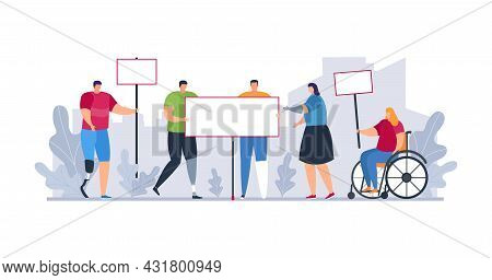 Protest Demonstration With Flat Disabled Person, Vector Illustration. Activist Character At Wheelcha