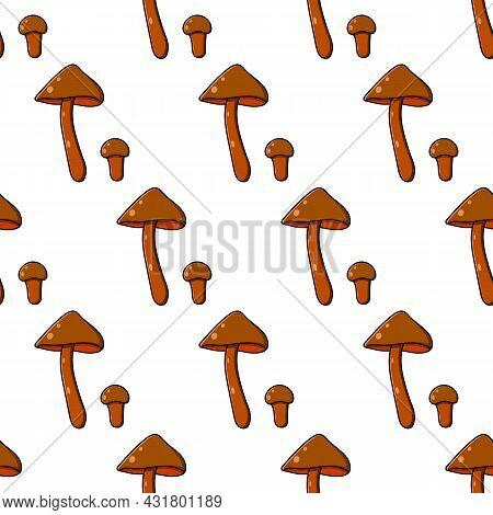 Beautiful Autumn Forest Large Cartoon Mushroom Brown.