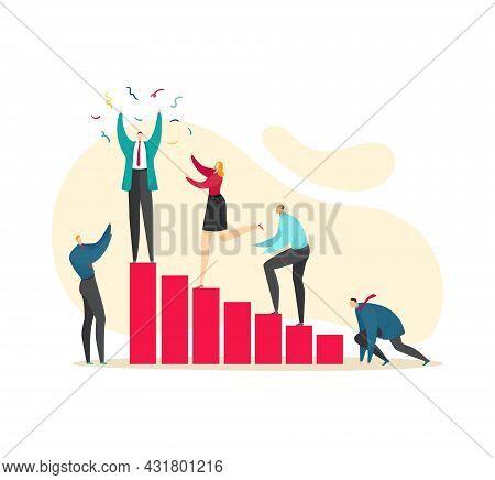 Achieve Goal, Success Career Progress, Vector Illustration. Business Man Woman People Character Clim