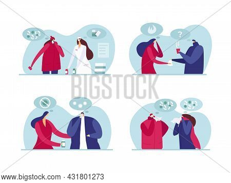 Help People With Illness, Vector Illustration. Man Woman People Character With Flu, Doctor Helping F