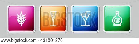 Set Line Hop, Glass Of Champagne, Cocktail And Bottle Cognac Or Brandy. Colorful Square Button. Vect
