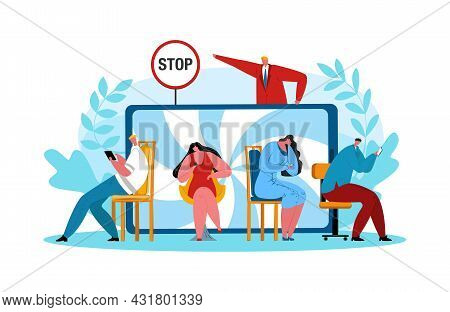 Stop Internet Addiction, Vector Illustration. People Use Modern Mobile Technology, Male Person Stopp