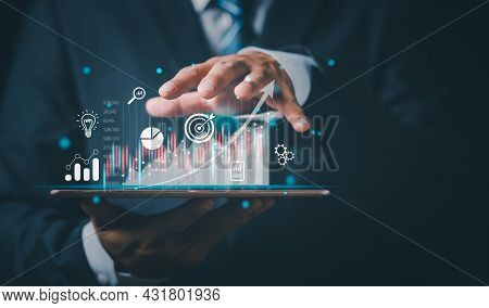 Stock Market Investments Funds And Digital Assets. Businessman Analyzing Forex Trading Graph Financi