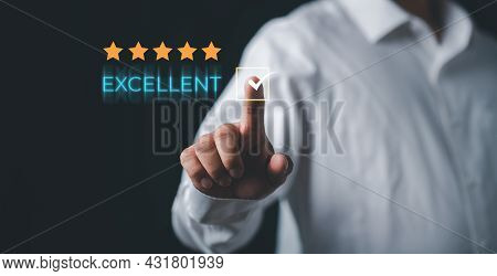 Customer Experience Satisfaction Concept. Hand Of Client With Touching On Excellent Rating For Satis