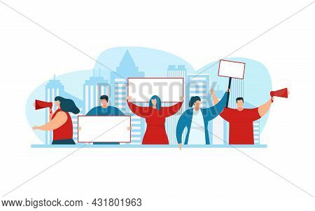 Protesting People Hold Placard, White Banner, Vector Illustration. Activist Man Woman Character Prot