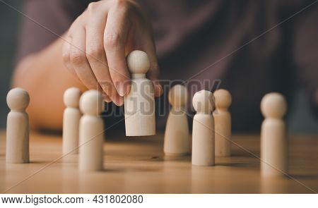 Hr Manager Hand Or Employer Chooses Takes In Hand Employee. Leader Stands Out From Crowd. Looking Fo