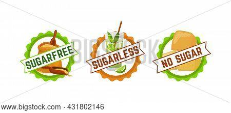 Sugar Free Sign Symbol, Vector Illustration. Graphic Logo For Healthy Product Label Set, Organic Nat