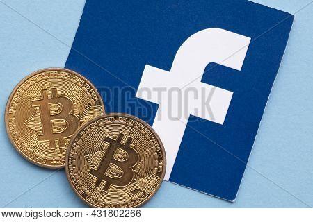 London, Uk - September 2021: Bitcoin Cryptocurrency On A Facebook Logo