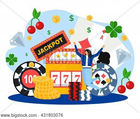 Luck In Casino Concept, Vector Illustration. Happy Flat Tiny Woman Character Win Jackpot, Fortune Wh