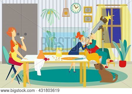 Family At Home, Vector Illustration. Grandfather Character Look At Telescope Equipment With Child Gi