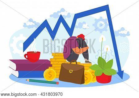 Financial Crisis, Vector Illustration. Sad Businessman Character Sit Near Business Finance Failure G