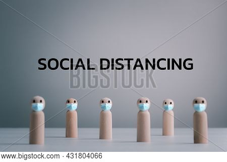Social Distancing, Keep Distance In Public Society People To Protect Covid-19 Coronavirus Outbreak S
