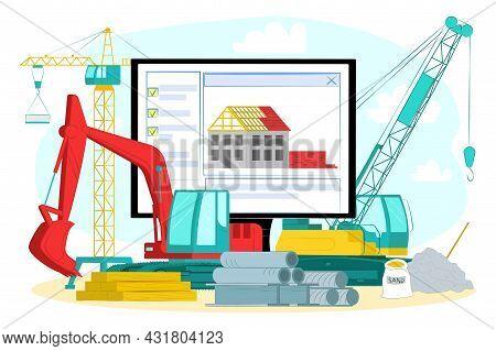 Hardware Online Shop, Vector Illustration. Flat Professional Equipment For Construction, Web Store W