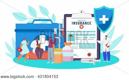 Health Insurance Form, Vector Illustration. Medical Document Claim For Life Care, Protection In Hosp