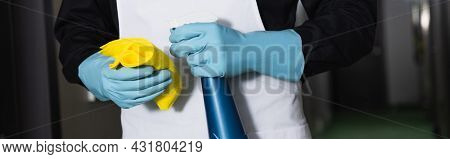 Partial View Of Housekeeper In Rubber Gloves Holding Spray Bottle With Rag, Banner