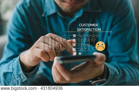 Customer Experience Dissatisfied Concept, Unhappy Businessman Client With Sadness Emotion Face On Sm