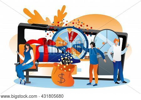 Lottery Online, Vector Illustration. Man Woman People Character Win Jackpot At Internet Fortune Whee