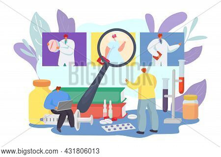 Patient Choose Medical Doctor, Vector Illustration. Flat Man Character Look At Hospital Physician Sp