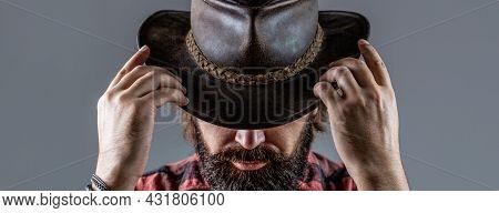 Cowboys In Hat. Handsome Bearded Macho. Man Unshaven Cowboys. American Cowboy. Leather Cowboy Hat. P