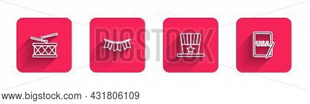 Set Line Drum And Drum Sticks, Carnival Garland With Flags, Patriotic American Top Hat And Usa On Gr
