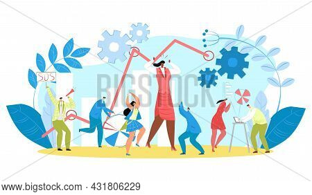 Business Work Problem, Vector Illustration. People Character Have Stress In Office, Businessman Hold