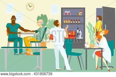 Medical Visit Doctor, Vector Illustration. Healthcare Consultation By Doctor Character, Patient At H