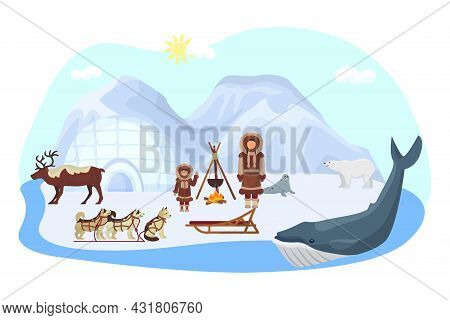 Alaska North Ethnic Concept, Vector Illustration. Arctic Nature With Polar Bear, Inuit People Charac
