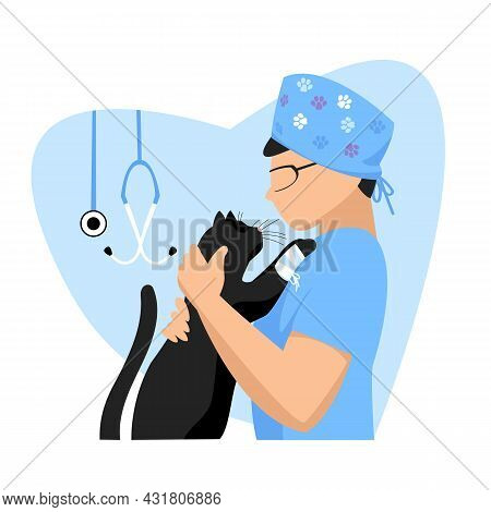 Veterinarian. A Veterinarian Doctor. An Animal Specialist. The Doctor Treats The Cat