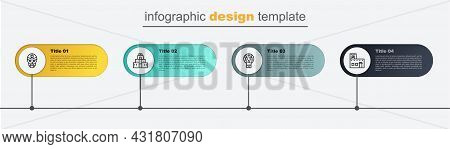 Set Line Mexican House, Skull, Chichen Itza In Mayan And Wrestler. Business Infographic Template. Ve