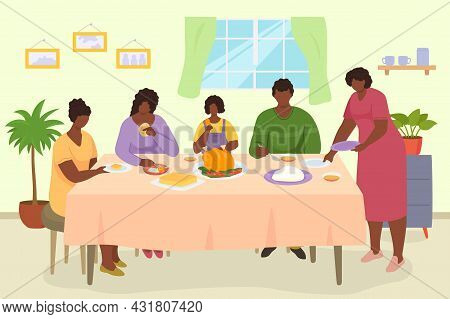 Family Dinner, Vector Illustration. People Man Woman Character Eat Meal At Table Together, Mother, F